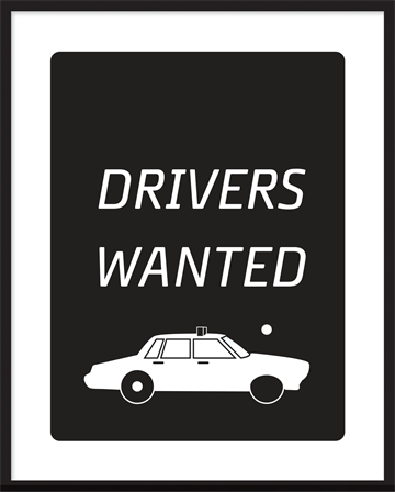 indrammet tekst plakat - Drivers wanted